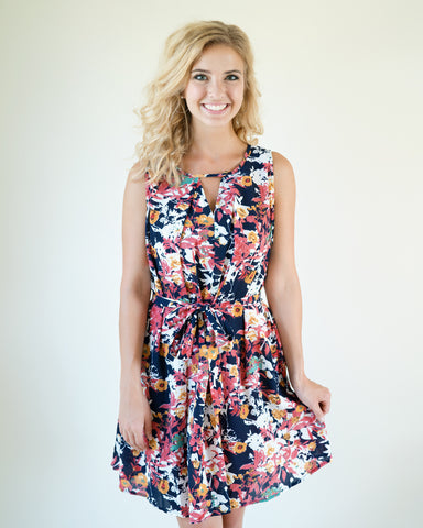 Navy Multi Floral Mix Dress