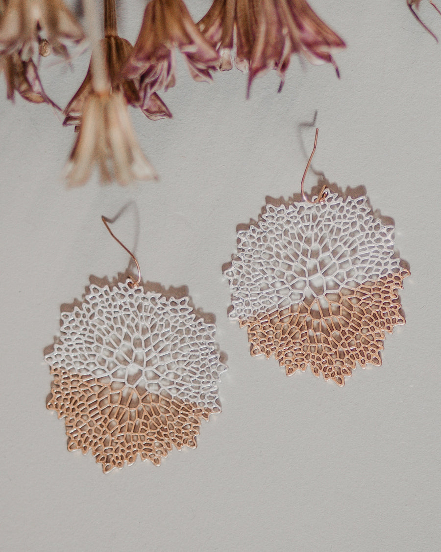 Metal Flower Detailed Earring