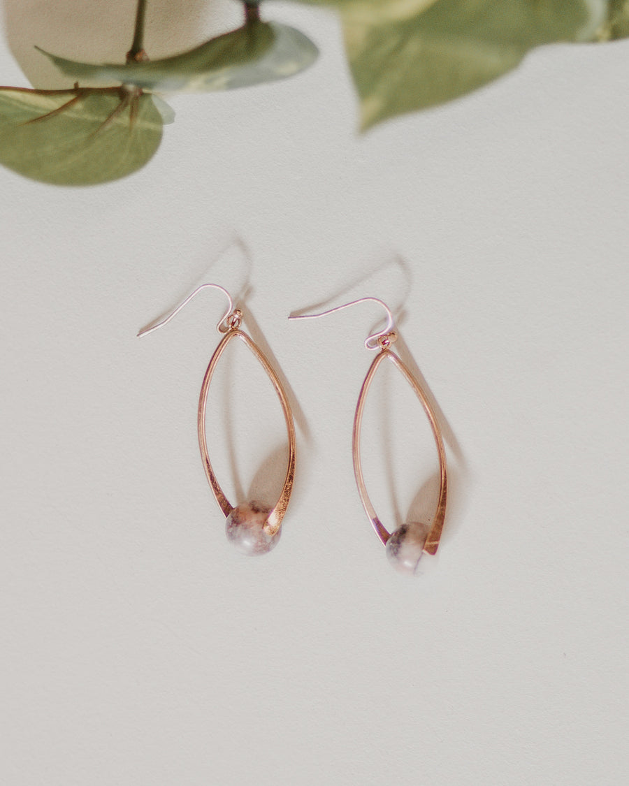 Natural Stone Oval Earrings