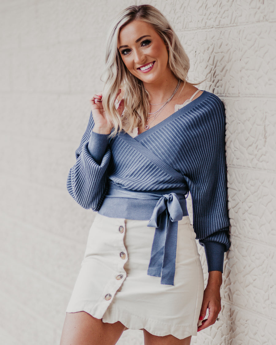 Arabella Tie Front Wrap Sweater