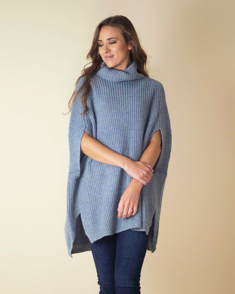 Holly Turtleneck Poncho Sweater