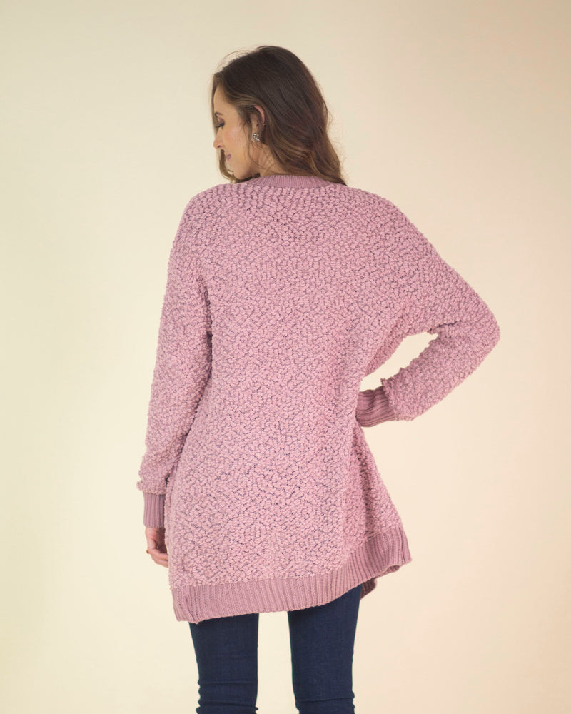 Rose Colored Pocketed Cardigan