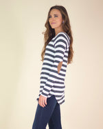 Hazel Striped Elbow Patch Top