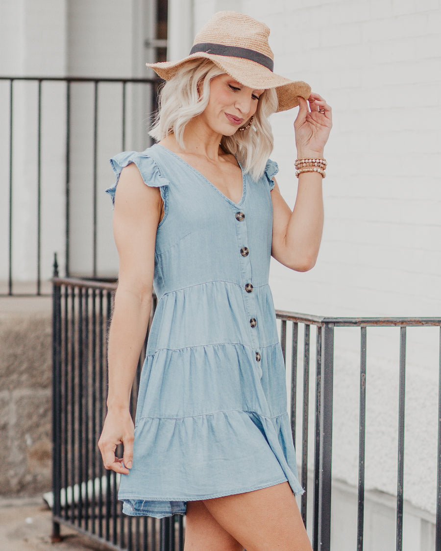 Leah Button Down Tiered Dress