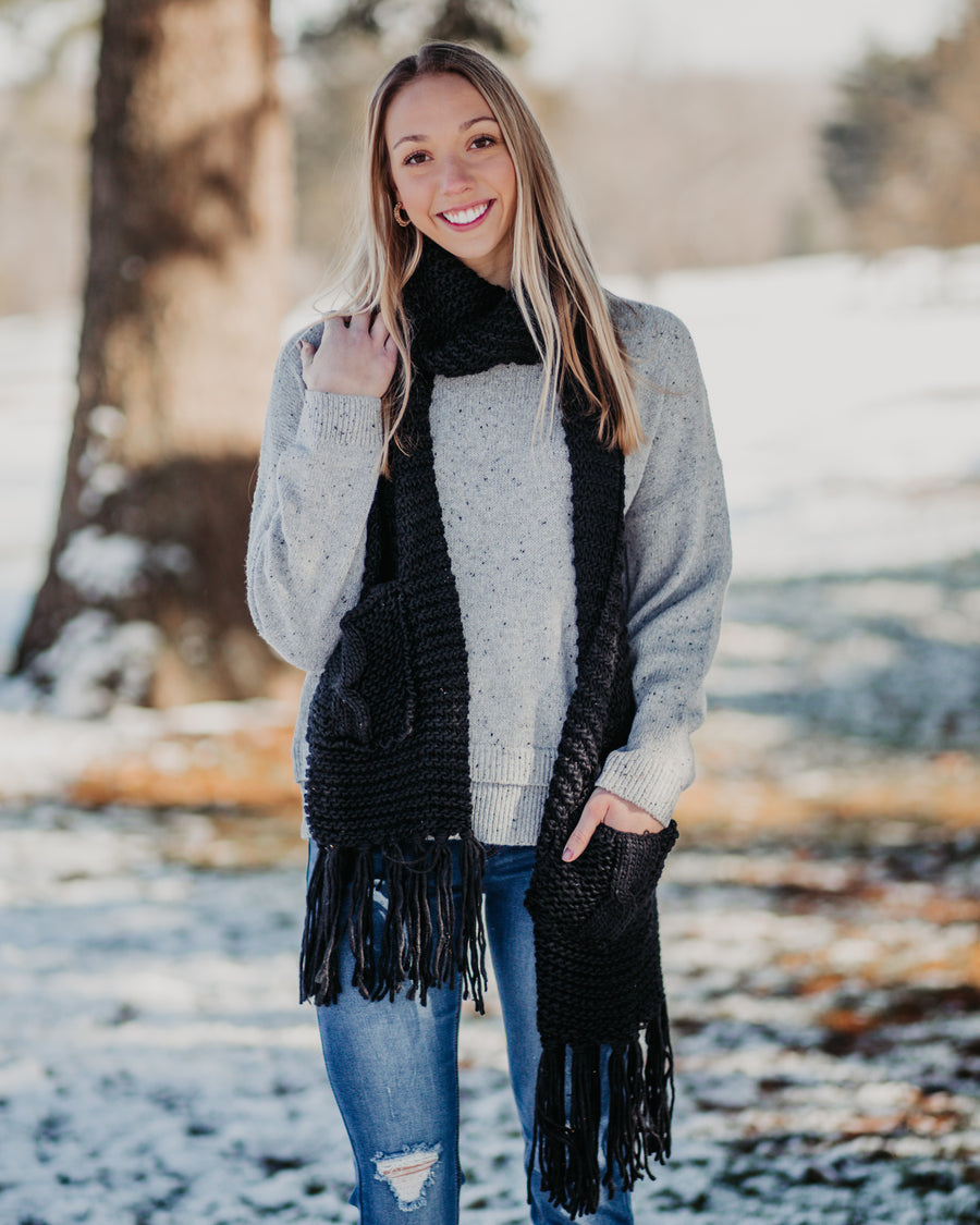 Fringe Pocketed Scarf-Black
