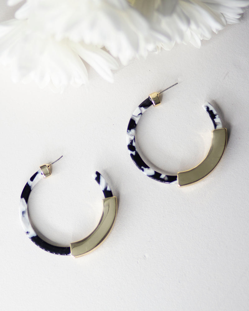 Leopard Hoop Earrings-Black
