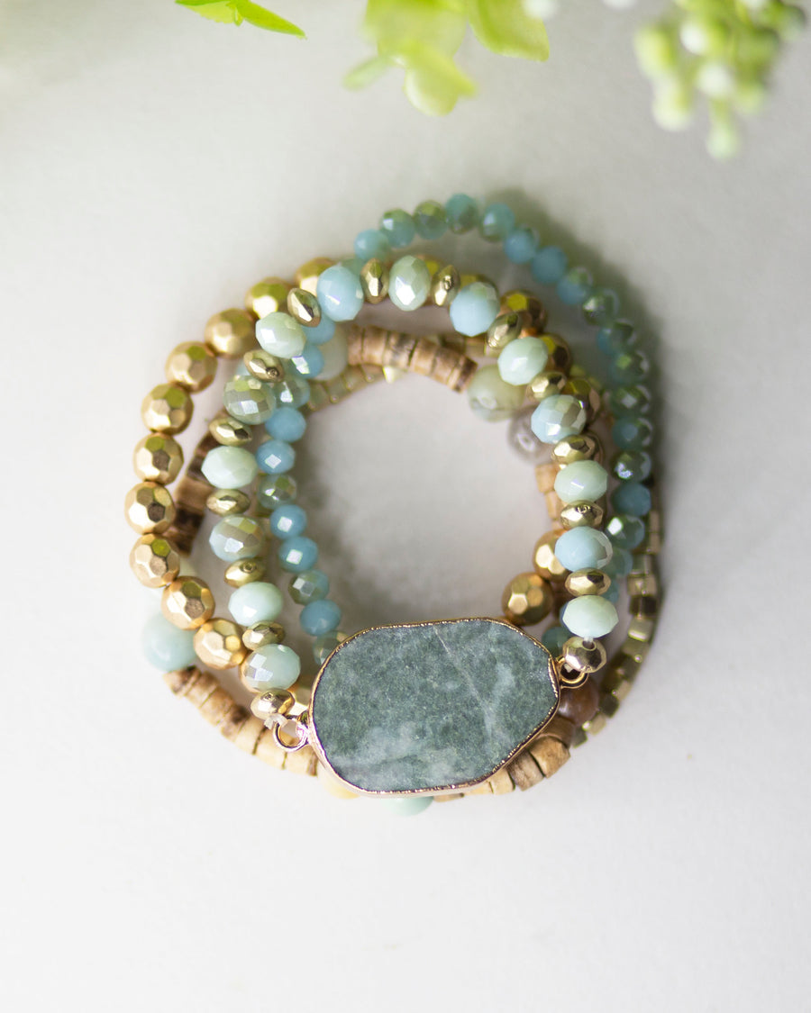 Mixed Beads Stone Bracelet-Teal