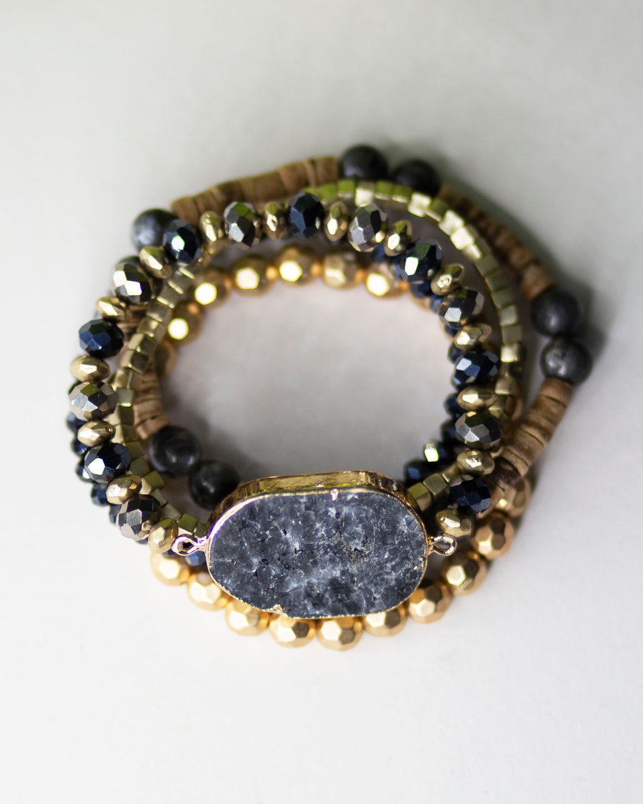 Mixed Beads Stone Bracelet-Black