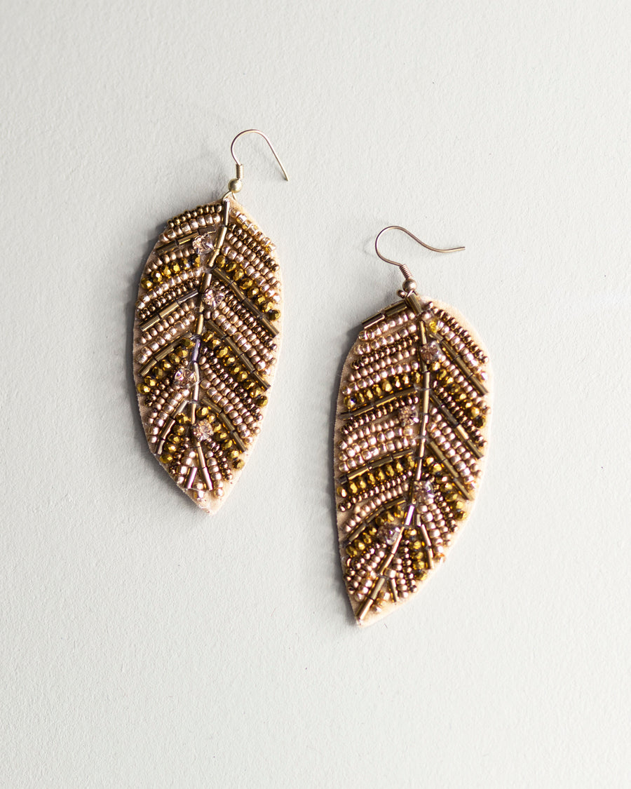 Golden Leaf Beaded Earrings