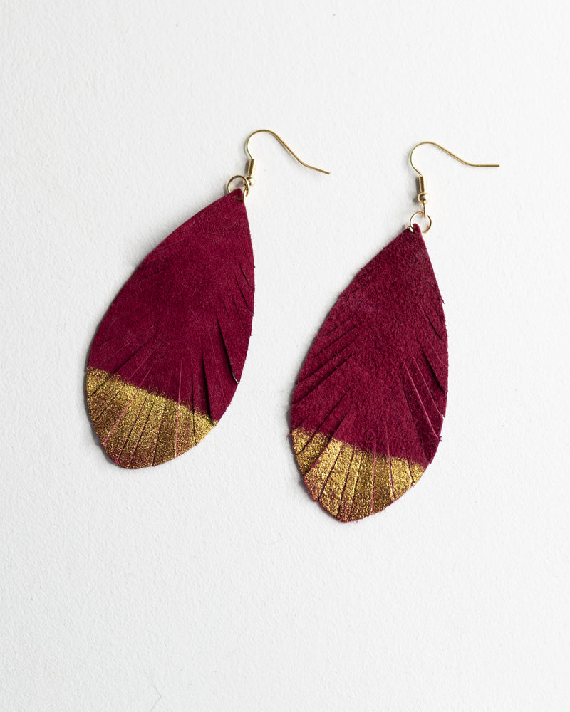 Glitter & Gold Leaf Earrings-Burgundy