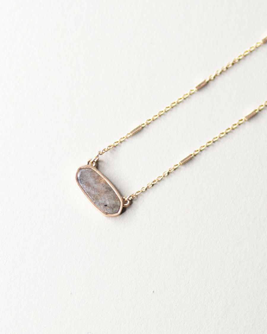 Oval Stone Necklace-Gray