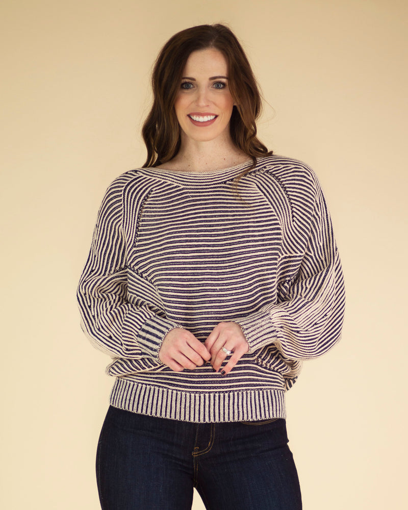 Peach Striped Sweater
