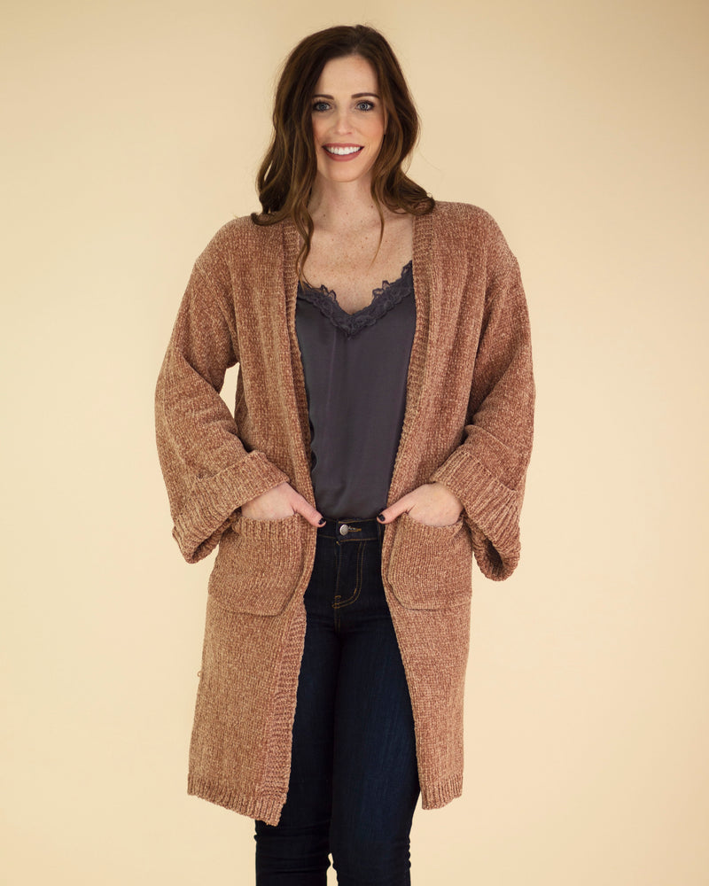 Chenille Pocketed Cardigan
