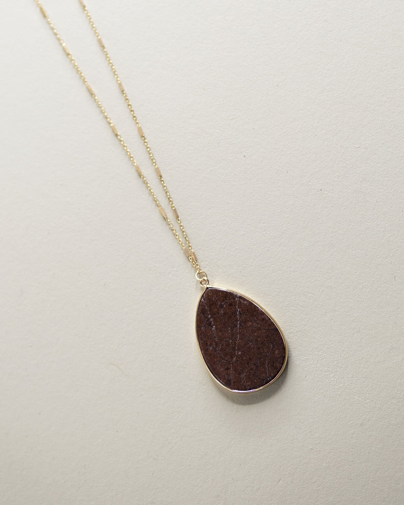 Teardrop Pendant Necklace-Brown