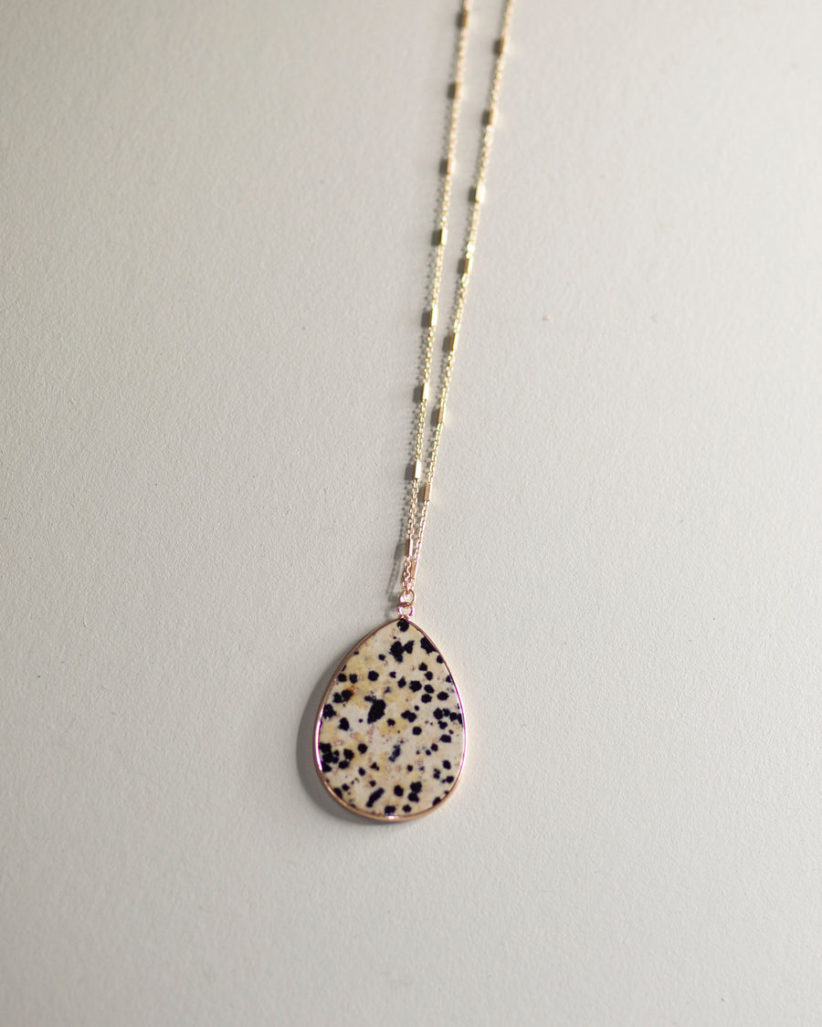 Teardrop Pendant Necklace-Dalmatian