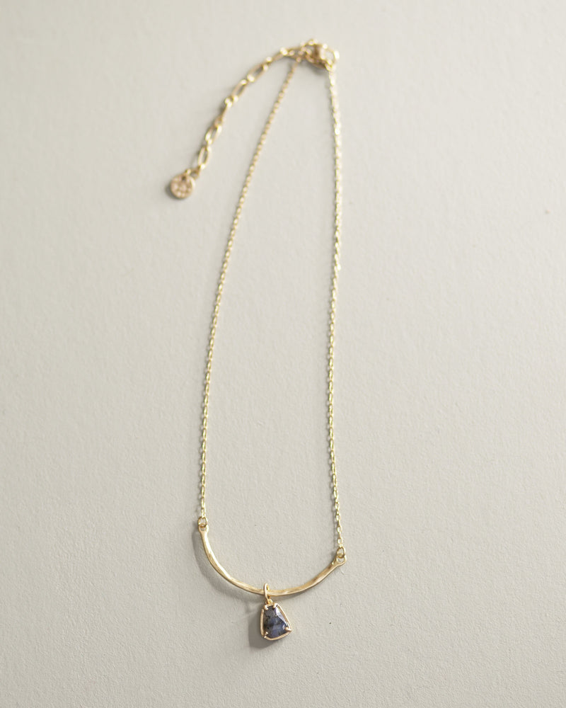 Curved Stone Necklace-Gray