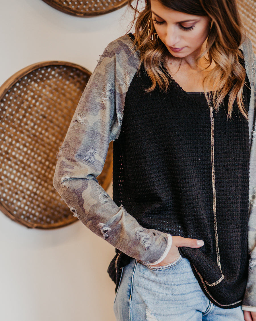 Charlie Distressed Camo Top