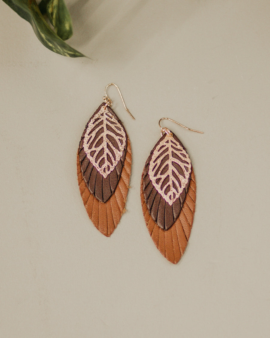 Leather and Gold Earrings