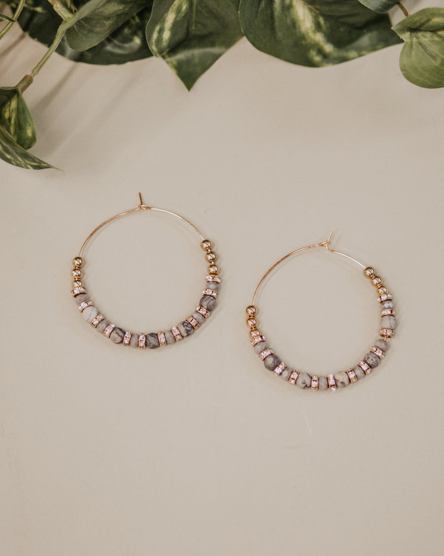 Beaded Gold Hoops - Blue/Grey