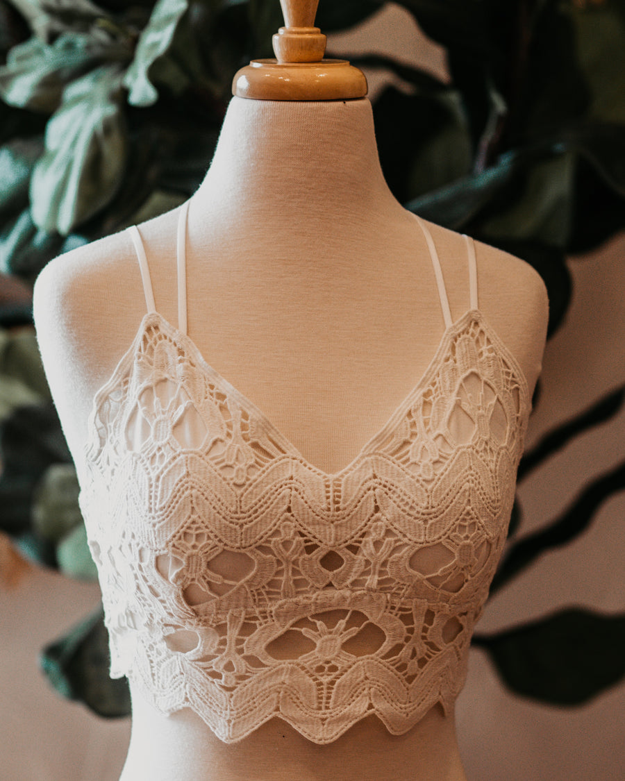 Crochet Embroidered Lace Bralette
