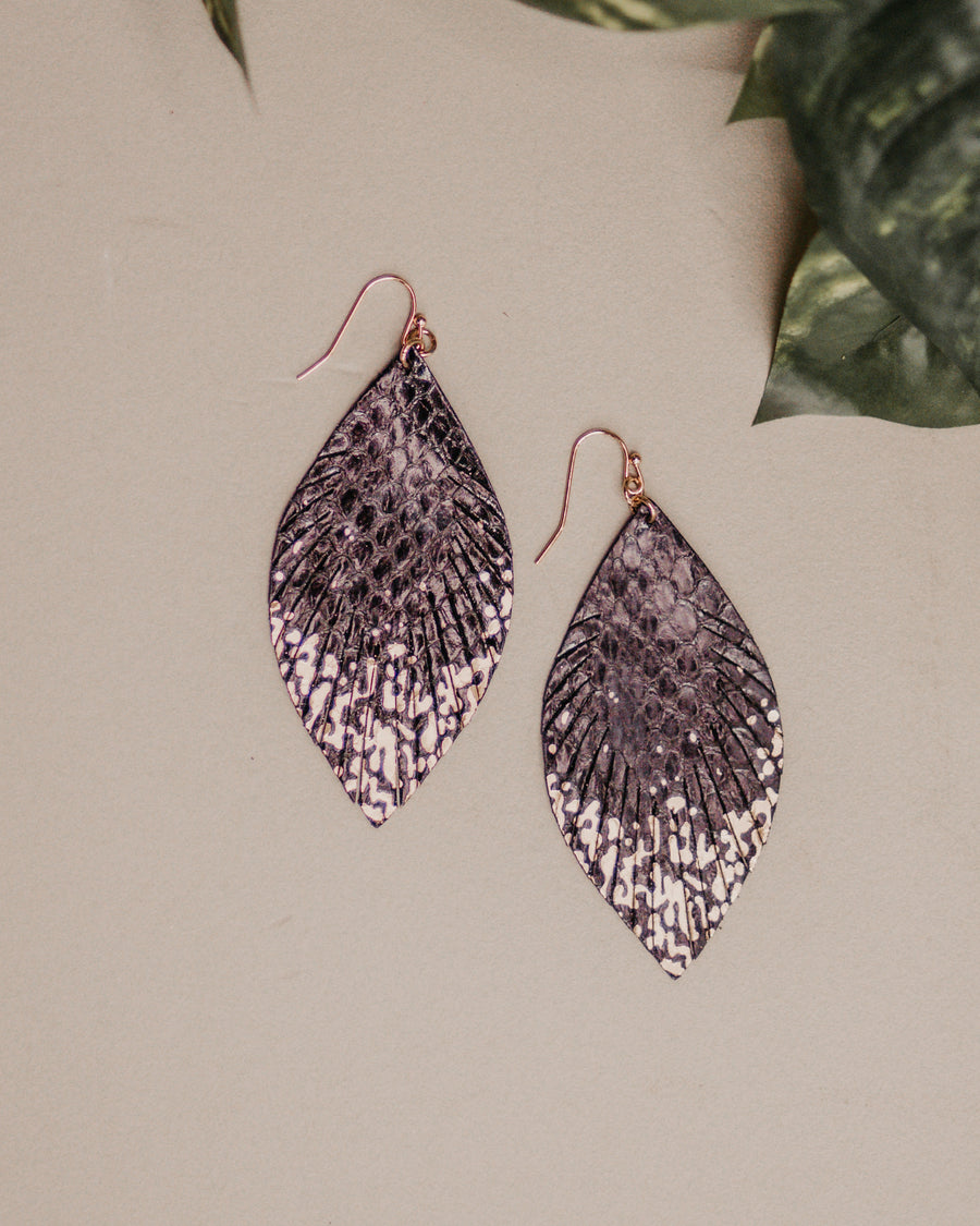 Leather Fringe Leaf Earrings- Black
