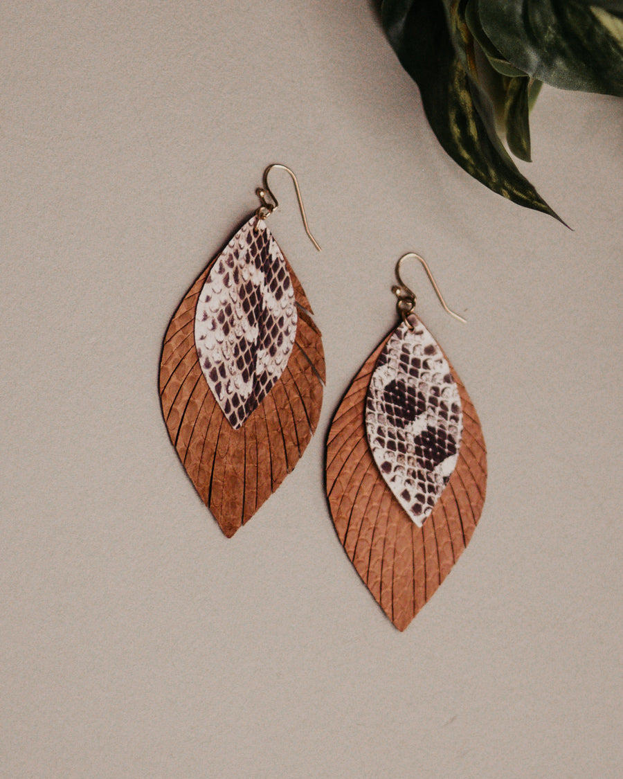 Leather Fringe Leaf Earrings