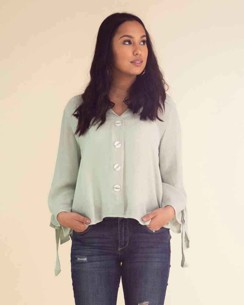 Sleeve Tie Button Front Top