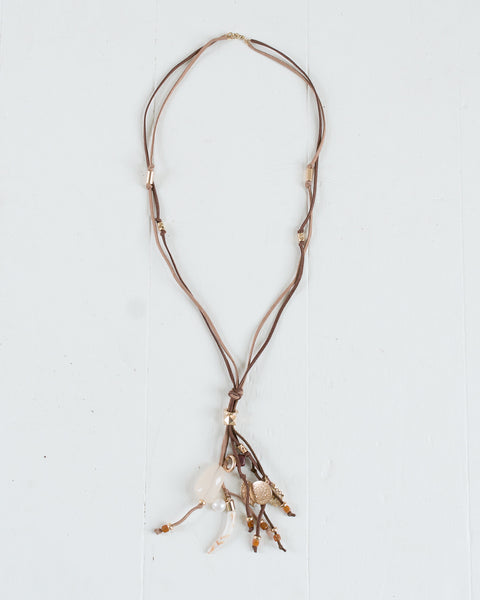 Multi-Charm Long Drop Necklace