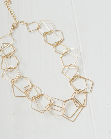 Linked Geometric Hoops Necklace