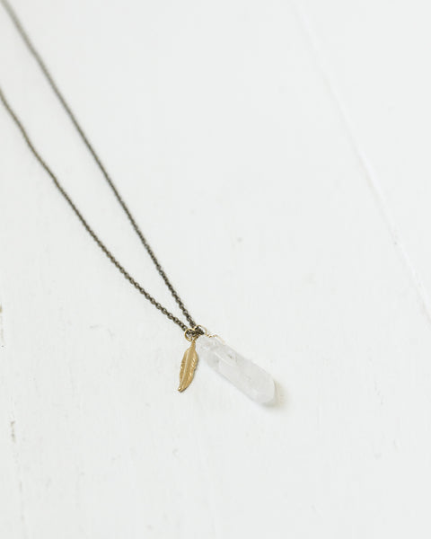 Crystal & Feather Necklace