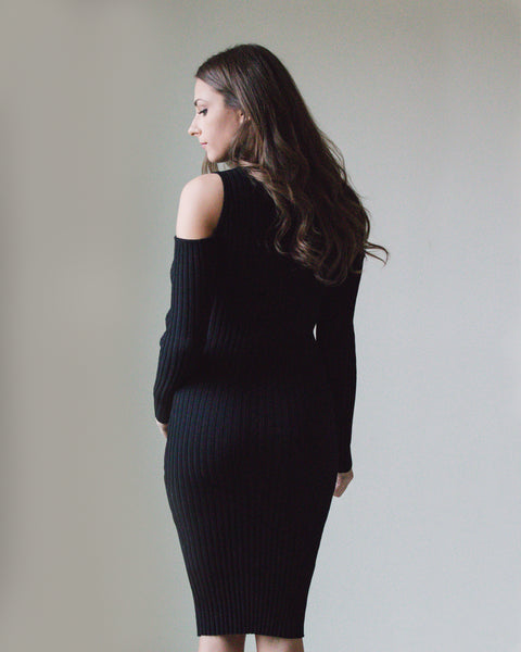 Cold Shoulder Turtleneck Dress
