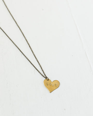 """Love"" Stamped Heart Necklace"