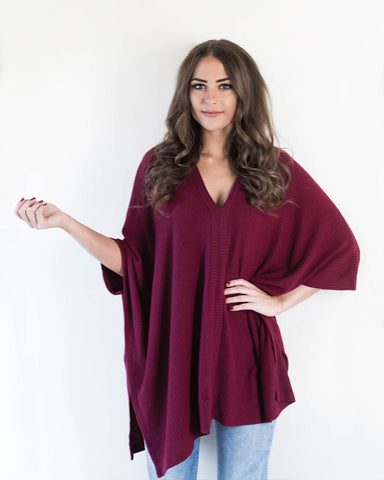 Burgundy Super Soft Poncho