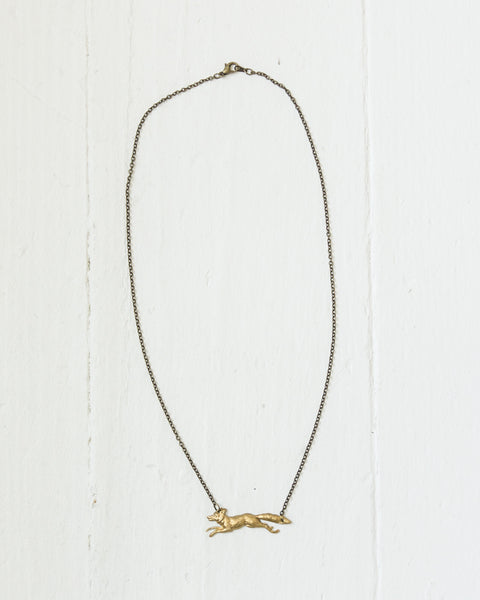 Brass Fox Necklace