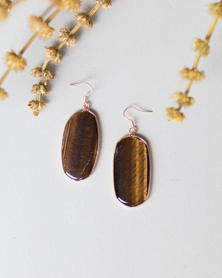 Bella Oval Statement Earrings-Brown
