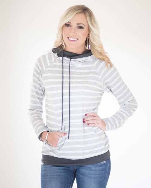 Gabby Striped Hooded Top