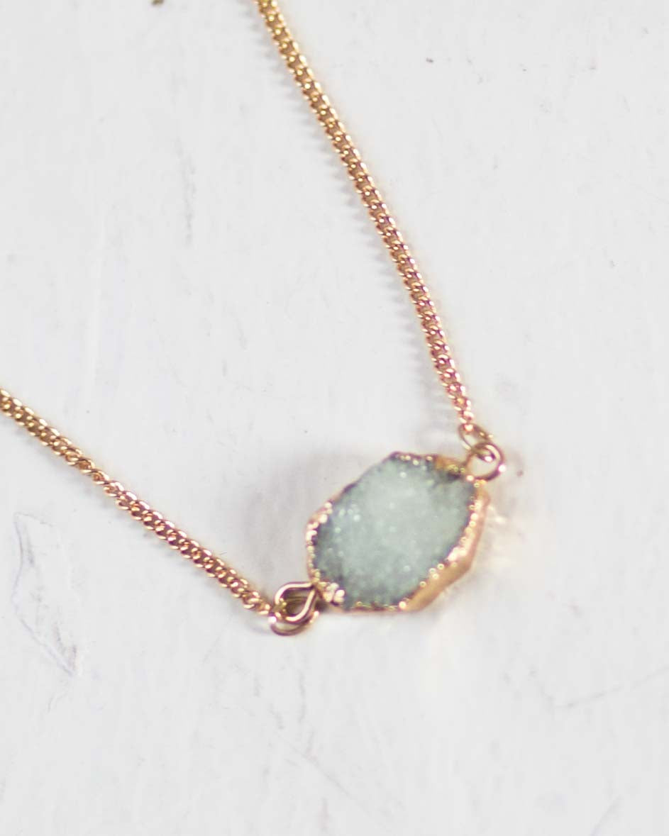 Druzy Stone Charm Necklace