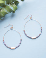 Metallic Bead Hoop Earrings