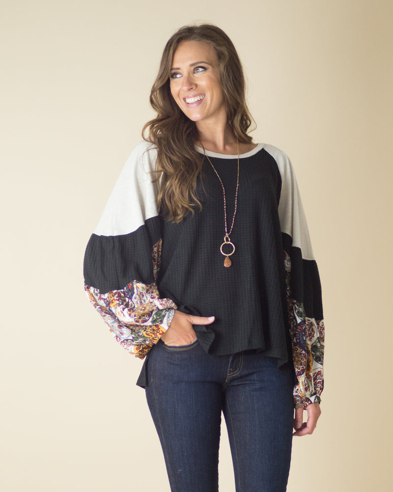 Carissa Contrast Sleeve Top