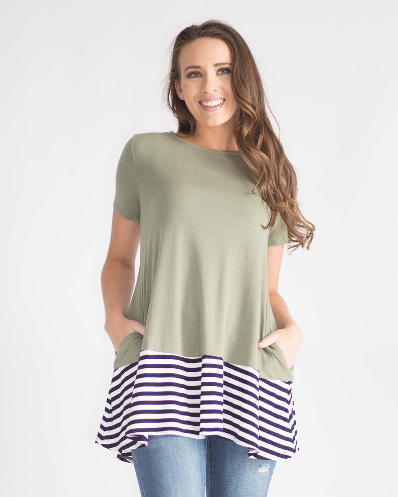 Striped Contrast Pocketed Tee