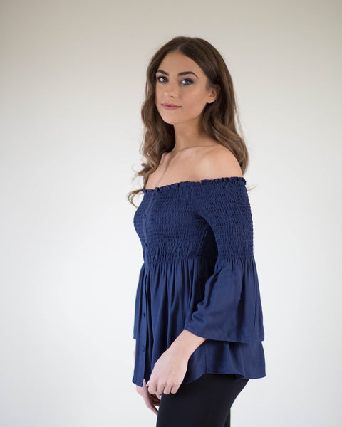 Sweet Babydoll Open Shoulder Top