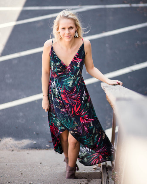 High Low Palm Dress