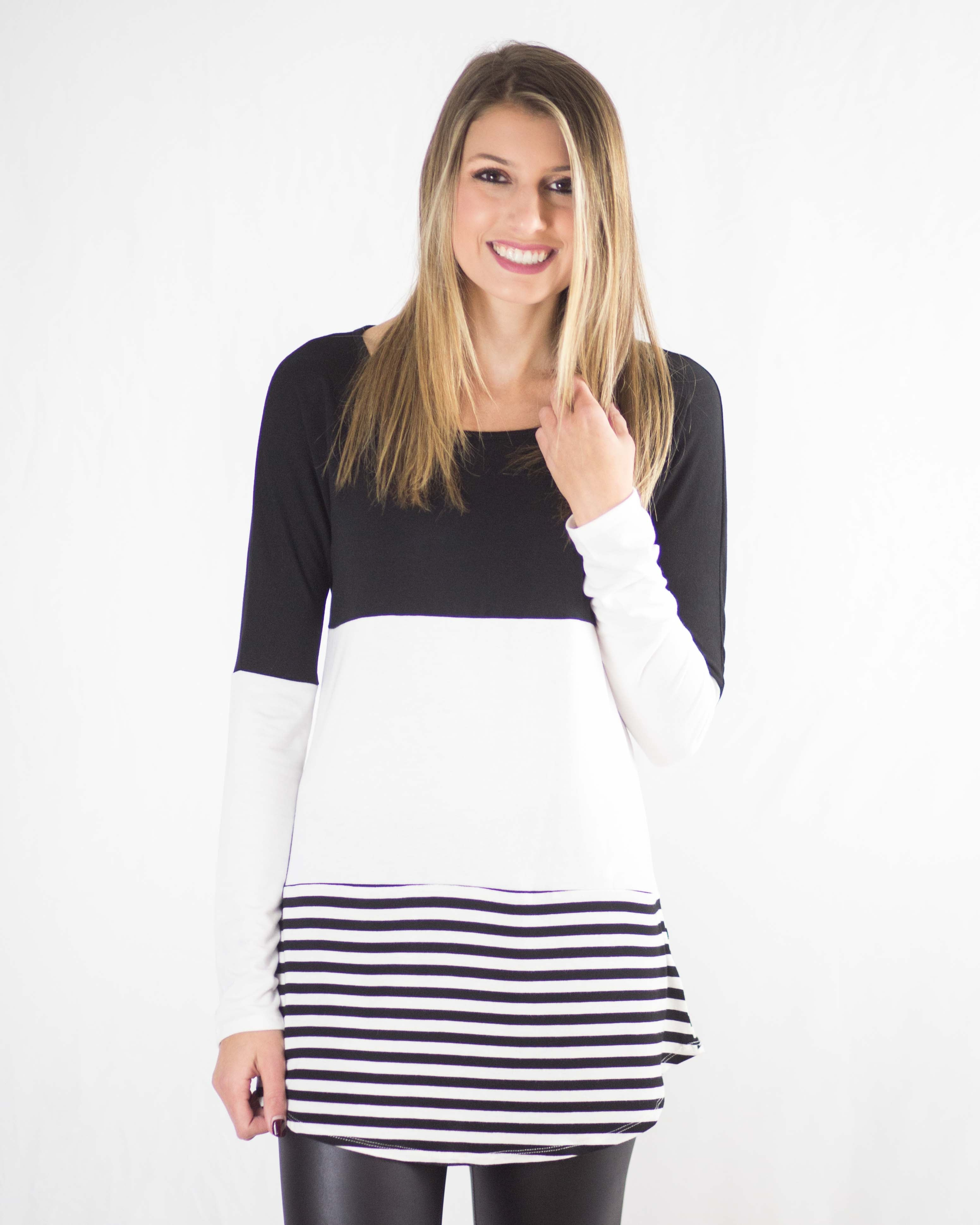Allison Striped Contrast Top