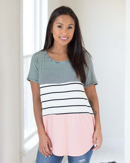 Sadie Mixed Stripe Tee | Rose & Remington