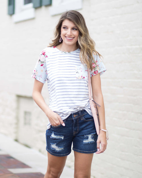 Becca Striped Floral Contrast Tee