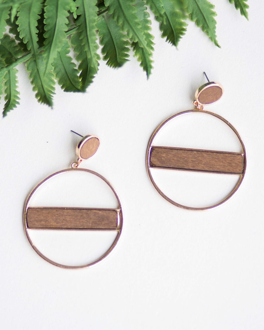 Golden Wood Hoop Earrings