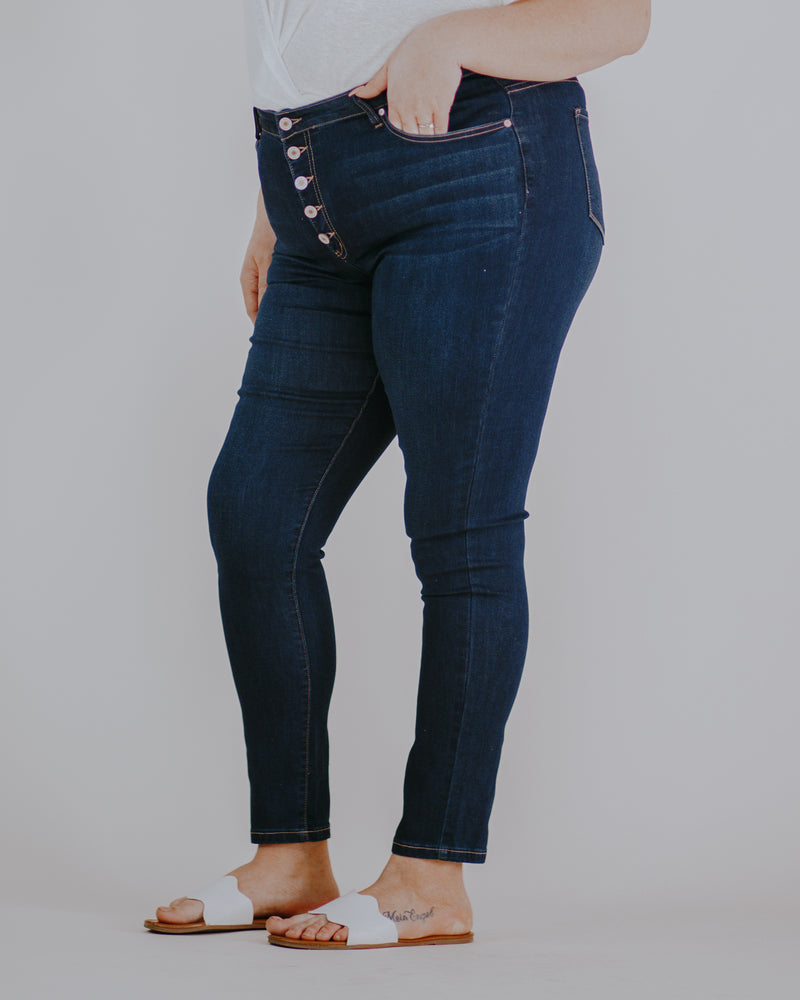 Button Fly High Rise Jeans