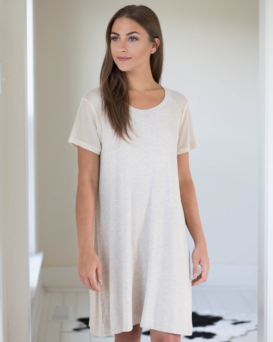 Mesh Sleeve Tee Dress | Rose & Remington