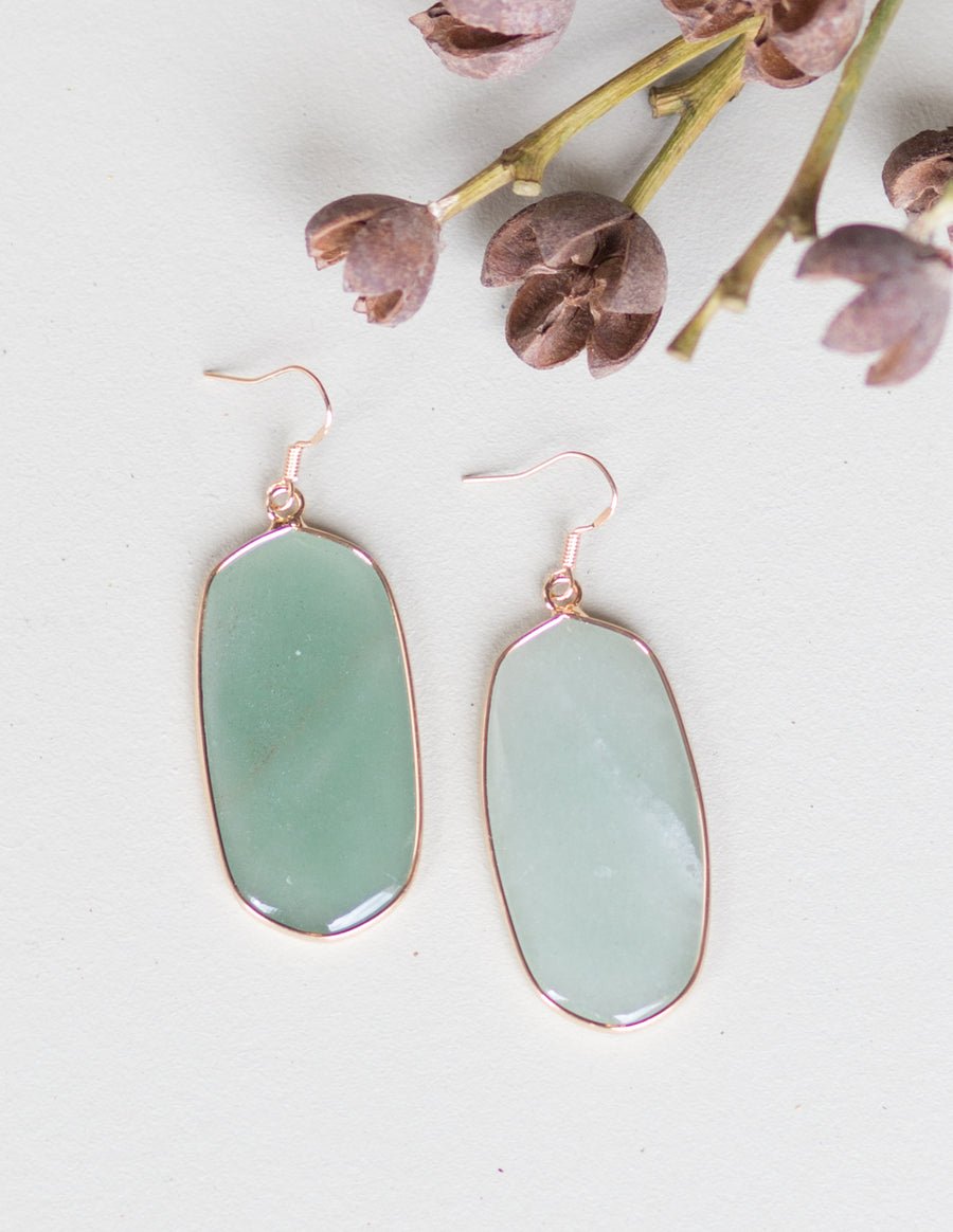 Bella Oval Statement Earrings- Mint