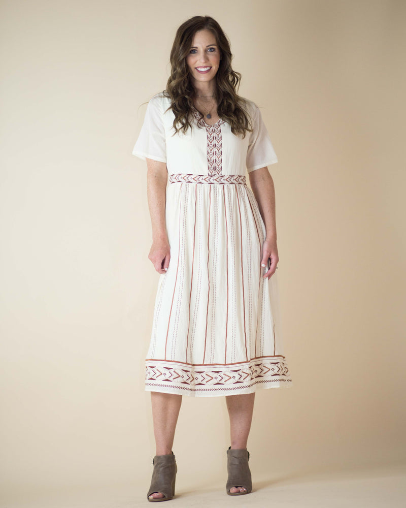 Annika Embroidered Midi Dress